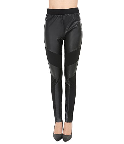 Patchwork Faux Leather (FAYBOX Women Patchwork Faux Leather Leggings MID Waisted Pants 01S)