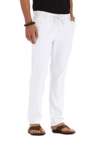 ZYFMAILY Men's Linen Drawstring Casual Beach Pant-Lightweight Summer Trousers White-US 36