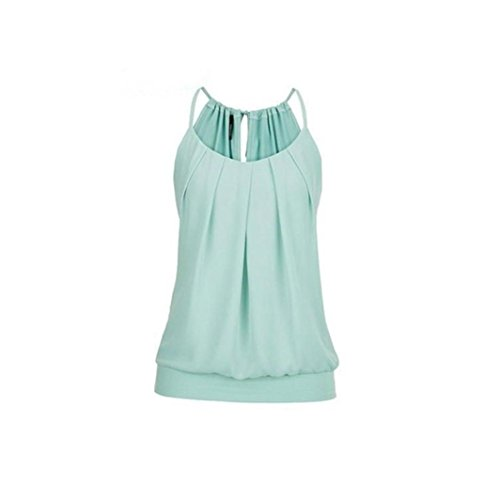 (Tank Tops Vest Blouse Shirts for Women Loose Wrinkled O Neck Cami Tank Blouse Green)