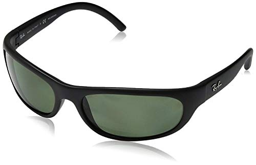 Ray-Ban RB4033 Polarized Rectangular Sunglasses, Matte Black/Polarized Green, 60 mm