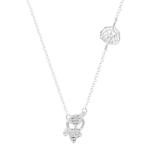 Cartoon Spider Man and Web Shaped Charm Pendant Necklace Marvel Super Heroes for Kids (Silver)]()