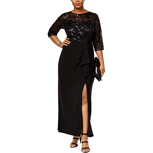 Alex Evenings Womens Plus Floral Print Sequined Evening Dress Black 14W