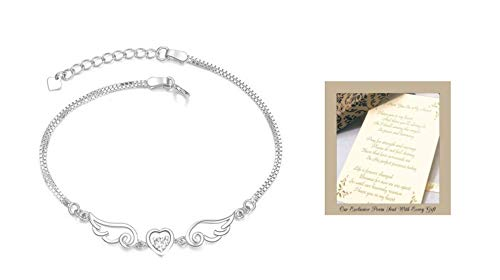 Sympathy Gift-Send to Memorial-Funeral or Home of Grieving -I Have You in My Heart Angel Wings Bracelet
