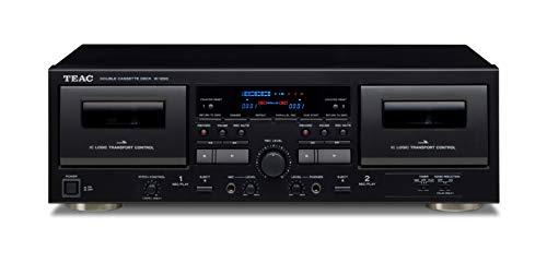 Teac W-1200(B) dubbele cassettedeck (cassettespeler, opnemen/afspelen, microfooningang voor karaoke en berichten, USB…