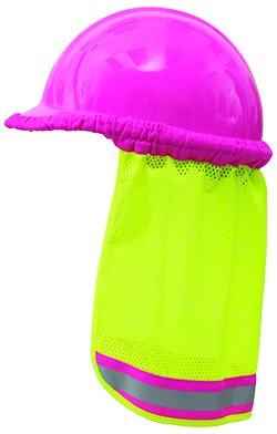 2/PACK PINK - Neck Sun Shield Shade For Hard Hats Safety Helmet Hi Visibility Mesh - Hi Viz Lime / PINK