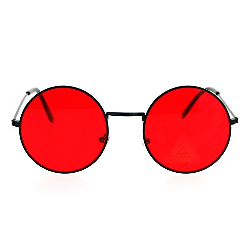 SA106 Retro Vintage Flat Color Circle Round Lens Sunglasses Black Red - Circle Lenses