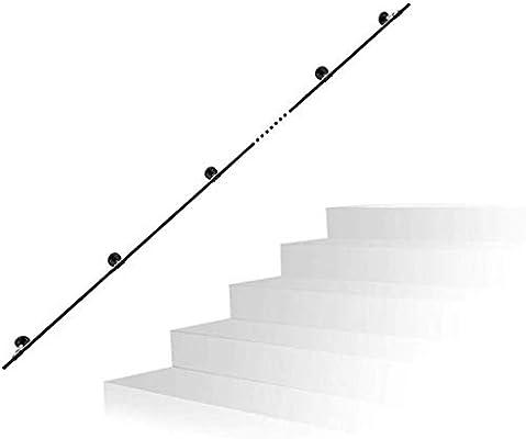 Pasamanos Escalera Manejar el Agua Industrial de tuberías Baranda de Hierro Forjado Retro Negro Soporte de la Baranda de Escalera del ático de Puerta del Sitio, tamaño: 200-600cm Opcional: Amazon.es: Hogar