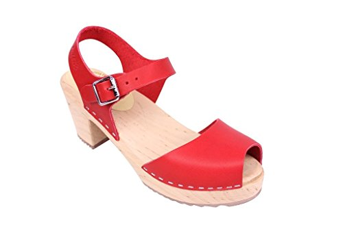 Lotta From Stockholm Swedish Clogs : Open Toe High Heel Clogs In Red Leather - EUR 40 by Lotta From Stockholm