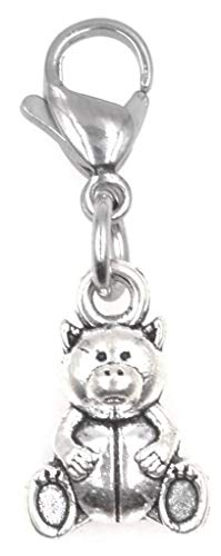 Teddy Bear Clip on Charm Perfect for Necklaces and Bracelets 97Ah