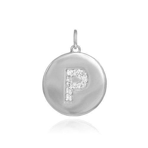 - 14k White Gold Diamond Charm Disc Initial Letter P Pendant