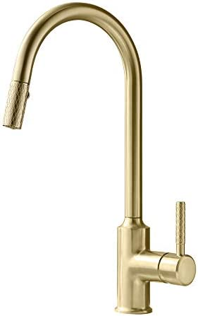 TURS Kitchen Faucets With Pull Down Sprayer Single Lever ALL BRASS Sink Mixer With Retractable Pull-Out Wand Brushed Gold Finish, FK002LG