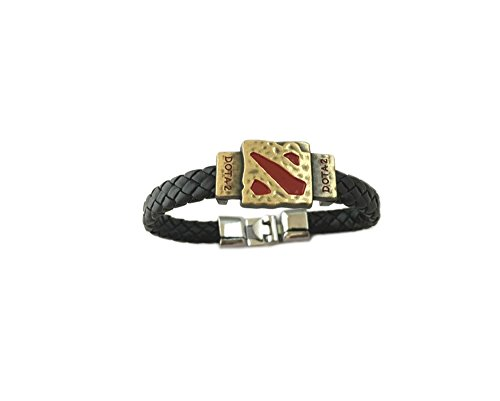 Game Dota 2 Logo Leather Braided Bracelet in Gift Box -