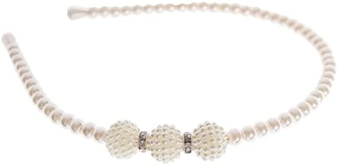 COMEYOU Cerchietto per Capelli Bianco Cerchietto Perline con Perle finte abbellite da Perle