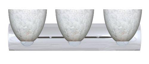 Besa Lighting 3WZ-757219-PN Sasha II 3-Light Vanity Fixture, Carrera Art Glass Shades and Polished Nickel Finish