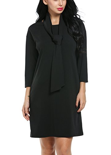 ACEVOG-Women-Slim-Bodycon-34-Sleeve-O-neck-Party-Office-Business-Dress-with-Belt