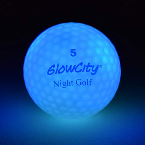 GlowCity Glow-in-The-Dark Golf Balls - 3-Pack of Official Size & Weight LED Neon Balls - Impact Activated Smart Sensor Stays Lit for 8-Minutes - Batteries Included (3 Pack) (Blue)