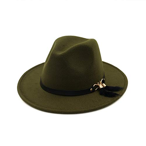Fedora Hats for Women Autumn Imitation Woolen Women Men Ladies Fedoras Top Jazz Hat Army Green
