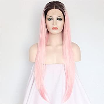 MZP Donna Parrucche sintetiche Lace frontale Lungo Lisci Rosa Radici scure Attaccatura dei capelli naturale Riga al centro Capelli schiariti , blushing pink