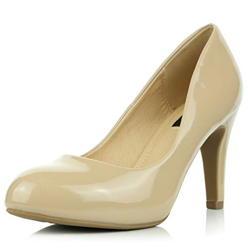 DailyShoes Women's Comfortable Cushioned Slip On Low Heels Round Toe Dress Pumps Shoes, Beige Patent Leather, 10 B(M) US