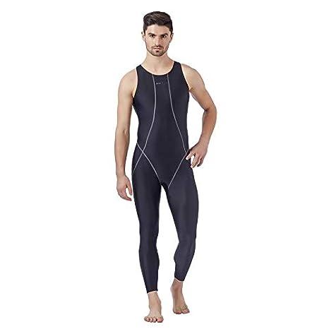 f7a842dc9c Veloz Men's Sleeveless/Full Legs Swimwear Bodysuits with YKK Zip (Black, ...