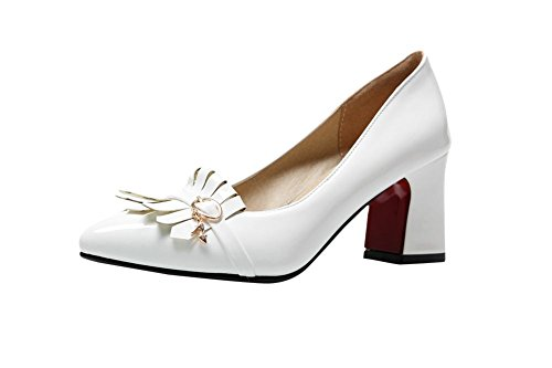 Patent Buckle High Heel Toe Pumps Chunky Decorations Leather Dress Pointed White Womens Carolbar Shoes q6w4tR