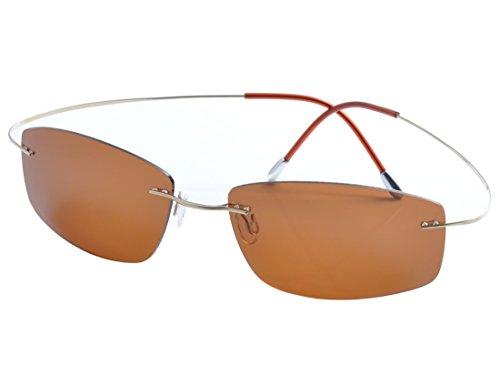De Ding rimless titanium polarized Sunglasses (gold, - Titanium Men Sunglasses