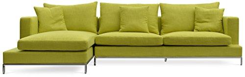 Soho Concept CPST-CrT Simena Sectional Sofa with Chrome Plated Steel Tubes Base, Cream Tweed (Soho Sectional Sofa)
