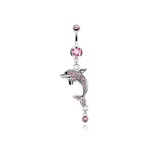 Dangling Dolphins Belly Button Ring - Pierced Owl CZ Crystal Paved Dolphin Dangling Drop Belly Button Ring (Pink)