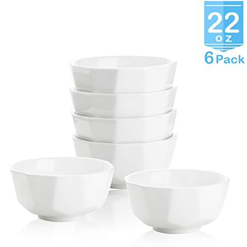 Zoneyila Porcelain Bowls - 22 Ounce for Cereal, Salad and Desserts - Set of 6, White