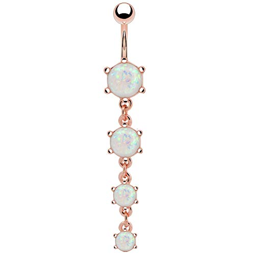 (COCHARM 14G 316L Surgical Steel White Opal Dangle Navel Belly Button Piercing Ring Barbells Jewelry(Rose Gold))