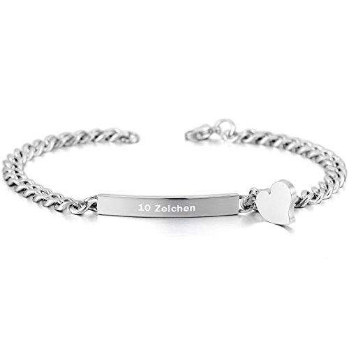 MeMeDIY Silber Edelstahl Armband Link Herz Polished - Kundenspezifische Gravur