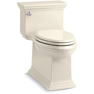 KOHLER Memoirs Stately Comfort Height Skirted One-Piece Compact Elongated 1.28 GPF Toilet with AquaPiston Flush Technology and Left-Hand Trip Lever