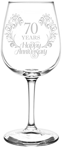 Personalized & Custom (70th) Beautiful & Elegant Floral Happy Anniversary Wedding Ring Inspired - Laser Engraved 12.75oz Libbey All-Purpose Wine Taster Glass