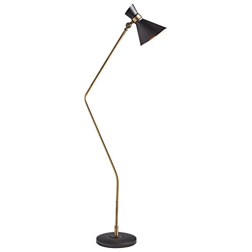 Amazon Brand – Rivet Mid-Century Modern Curved Task Floor Lamp With Light Bulb - 57 Inches, Matte Black & Brushed Steel