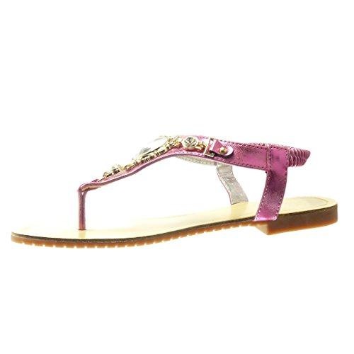 Angkorly - damen Schuhe Sandalen Flip-Flops - T-Spange - Schmuck - Strass - fantasy flache Ferse 1.5 CM - Fushia