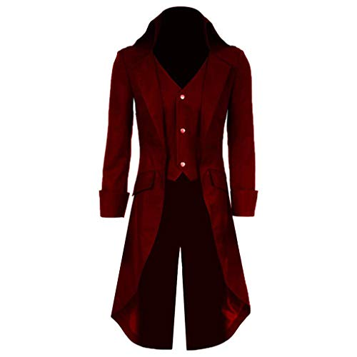 Qipao Mens Gothic Tailcoat Jacket Steampunk Victorian Coat Halloween Cosplay Costume Party Uniform (XL, Dark Red) ()