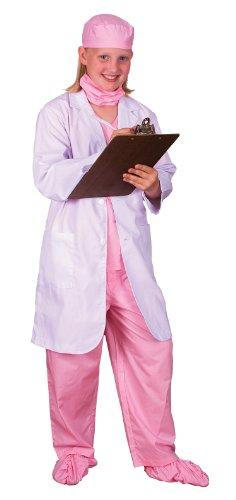 Aeromax Jr. Physician set with Pink Doctor Scrubs and White Lab Coat, size 8/10.