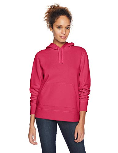 (Amazon Essentials Women's French Terry Fleece Pullover Hoodie Sweater, -dark pink, Small)