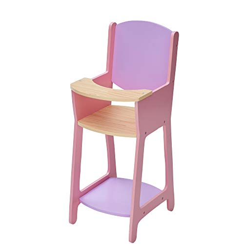 Olivia's Little World TD-12878A Modern Nordic Princess Baby Doll High Chair, Purple/Pink