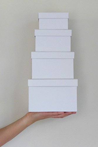 Cypress Lane Square Rigid Gift Boxes, a Nested Set of 4, 3.5x3.5x2 to 6x6x4 inches (White)