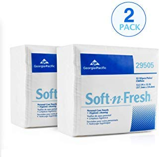 Disposable Georgia Towel (Georgia Pacific 29505 Soft-n-Fresh Personal Care Disposable Wash Cloths | Safe for Patient Care, Babies, Home Use and Beauty Regimens | 2 PK (55 PER PK)| Extra Thick, Soft and Absorbent | 13 x 13)