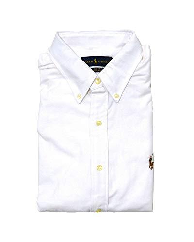 Polo Ralph Lauren Mens Long Sleeve Slim Fit Stretch Oxford Buttondown Shirt (XXL, White)