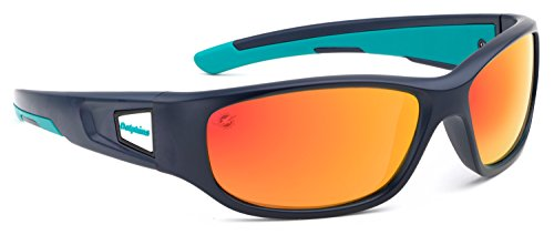Officially Licensed NFL Sunglasses, Miami Dolphins, 3D Logo on Temple - 100% UVA, UVB & UVC - Eye Glasses Miami