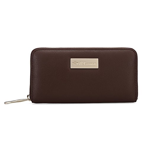 (Women's Embossed Zip around Calfskin Leather waller RFID theft protection, built-in thin lining designed to block radio frequency identification and prevent against electronic theft(Brown))