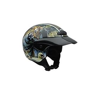 NZI 050269G712 Helix Jr Graphics Wild Life Casco de Moto, Diseño Tigre y Lobo,
