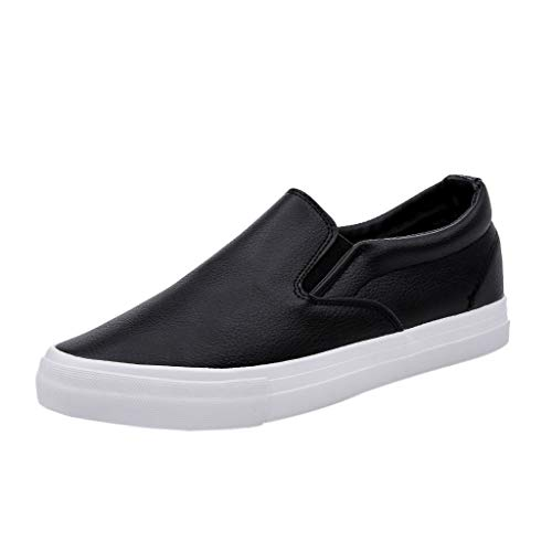 iHPH7 Shoes Premium Casual Slip on Loafers Breathable Driving Fashion Slipper Fashion Slip on Sneakers Solid Flat Casual Loafers Boat Shoes Men (44,Black) ()