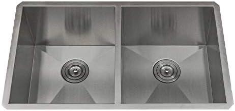 KABCO 16 Gauge Stainless Steel Kitchen Sink Undermount 32 Inch Wide 10 Inch Deep Double Bowl 50 50 Zero Radius 32 X 19 X 10 Sink Grid Strainer Package