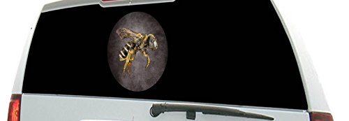 Yellow Jackets Rear Window (Perforated - Bee Hornet Wasp Yellow Jacket - Save the Bees Large Window Decal See-Thru Sticker)