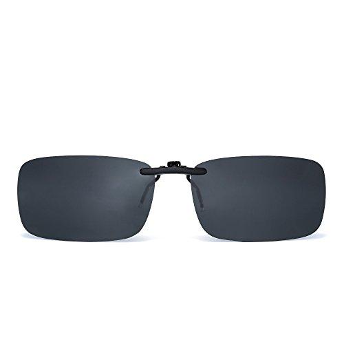 Rimless Rectangle Clip on Sunglasses Lightweight Polarized Eyeglasses Men Women (Polarized ()