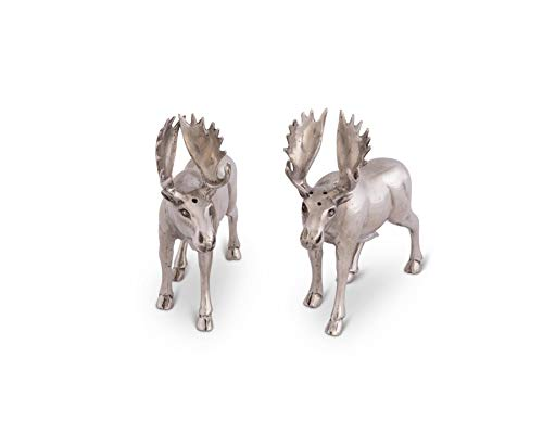 (Vagabond House Pewter Moose Salt and Pepper Set 4.5
